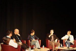 Étienne Barillier, LD, Olivier Gechter, Johan Heliot, Karine Gobled. Photo ActuSF.